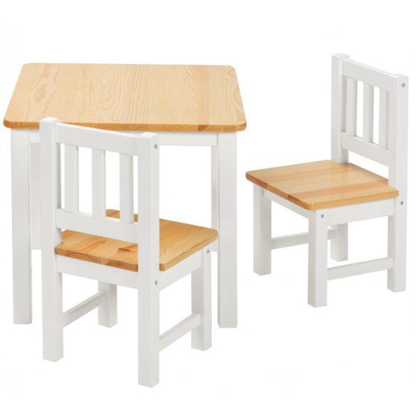 Fa gyerek asztal 2 székkel natúr-fehér