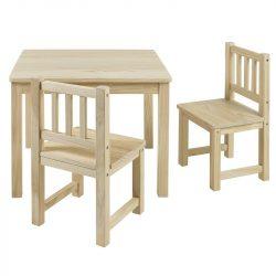 Fa gyerek asztal 2 székkel fehér