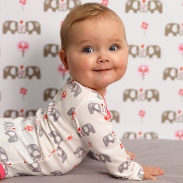 Fresk biopamut hosszú ujjú baba body rózsaszín elefánt