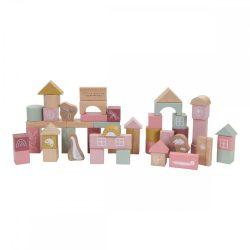 Little Dutch fa építőkocka 50 db - pink