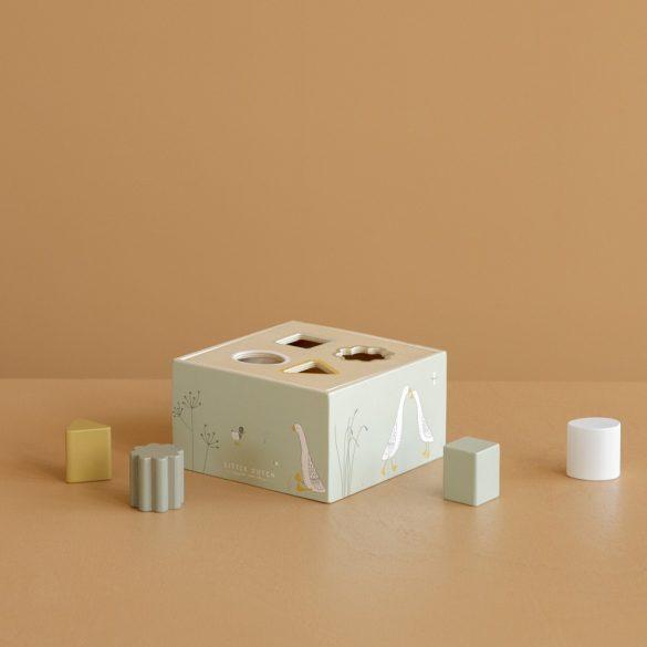 Little Dutch olívazöld fa formabedobó kocka